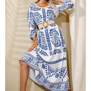 Boho floral print tunic dress
